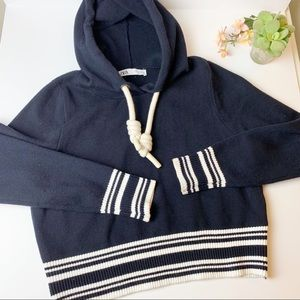 Zara Cropped Navy hooded sweater - nautical